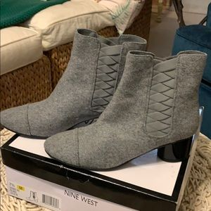 Gray booties, worn maybe once!
